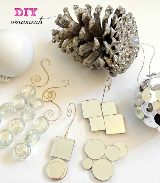 Pinecone, Glass, and Sequin Dangles #Christmas #dollarstore #diy #decorhomeideas