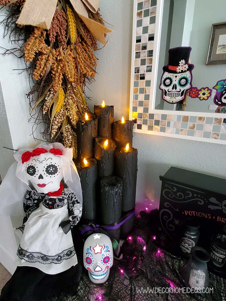 Pool Noodle Halloween Decoration With Dolls