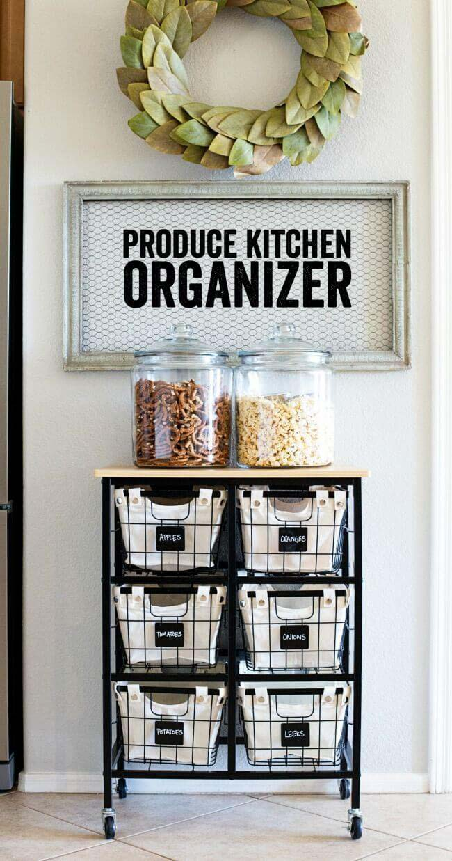 Produce Kitchen Organization #smallkitchen #storage #organization #decorhomeideas