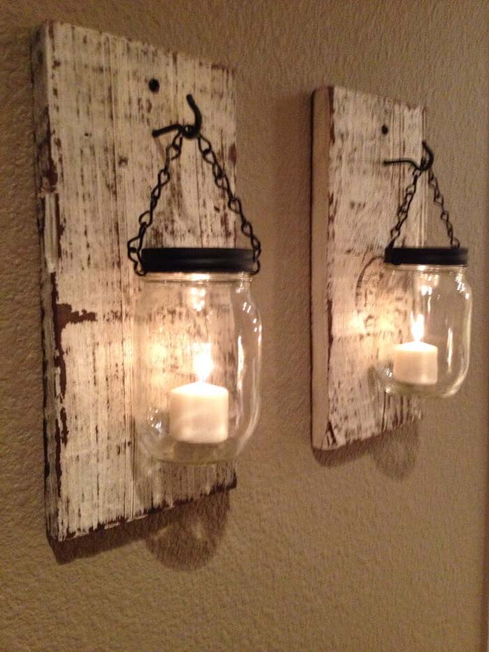 Reclaimed Wood and Mason Jar Votive Holders #bedroom #vintage #decor #decorhomeideas