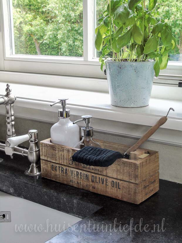Reclaimed Wooden Box for Soaps #kitchen #countertop #organization #decorhomeideas