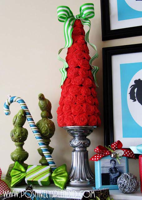 Rolled Rosette Christmas Tree #Christmas #tree #crafts #decorhomeideas
