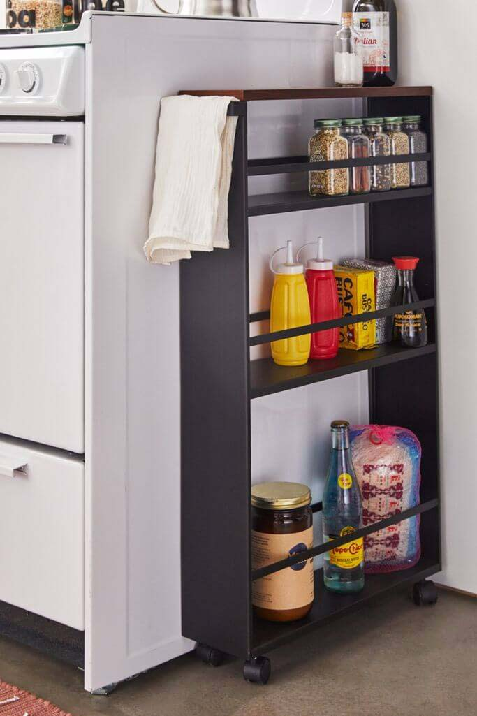 Rolling Kitchen Storage Cart #smallkitchen #storage #organization #decorhomeideas