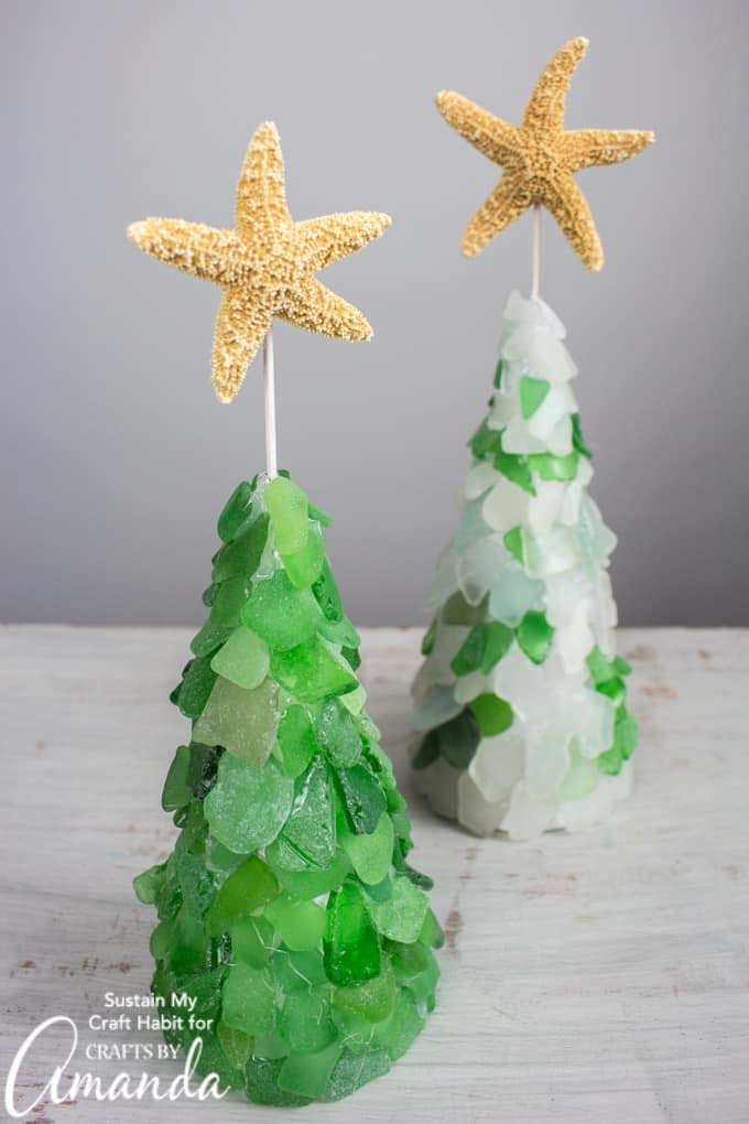 Sea Glass Christmas Tree #diy #coastal #christmas #decorhomeideas