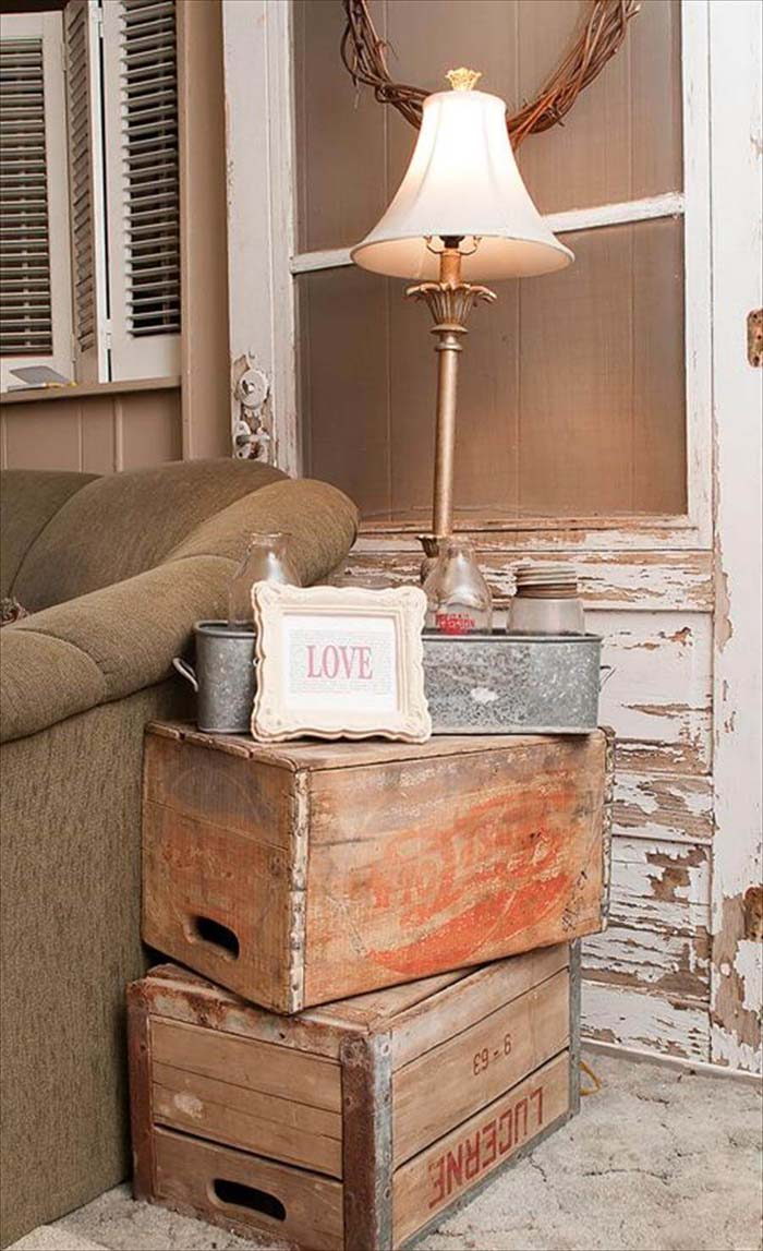 Easy Vintage Side Table From Stacked Packing Crates #bedroom #vintage #decor #decorhomeideas