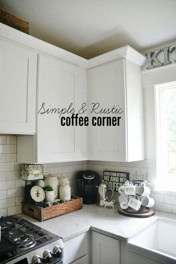 Simple and Rustic Coffee Corner #smallkitchen #storage #organization #decorhomeideas