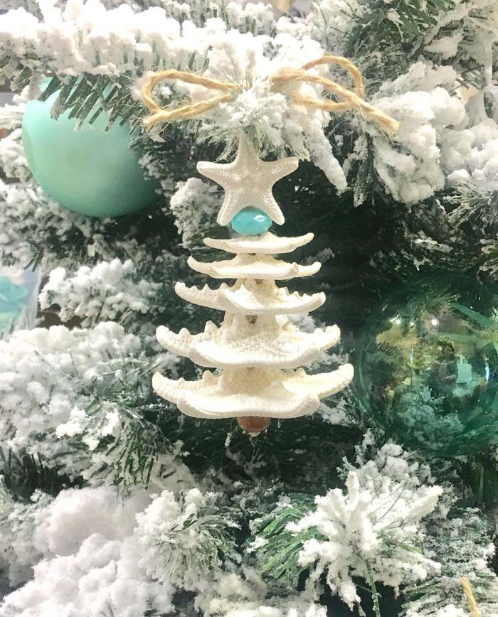 Starfish Christmas Tree Ornament #diy #coastal #christmas #decorhomeideas