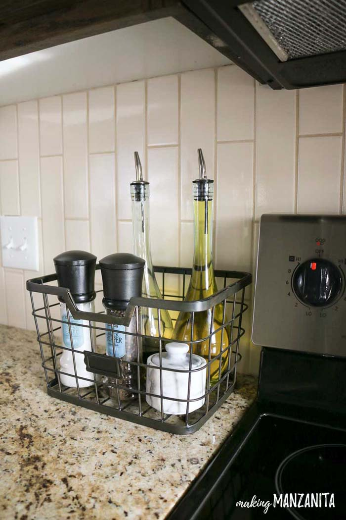 Tall Metal Basket for Stove Top Essentials #kitchen #countertop #organization #decorhomeideas