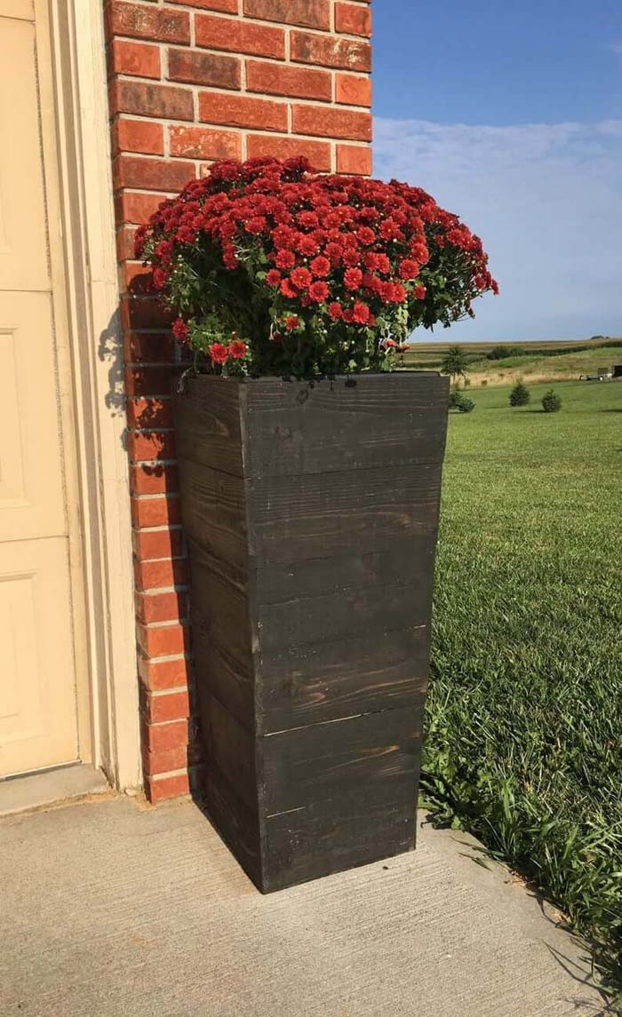 Tall Tapered Cedar Wood Planter #flowerpot #frontdoor #frontporch #decorhomeideas