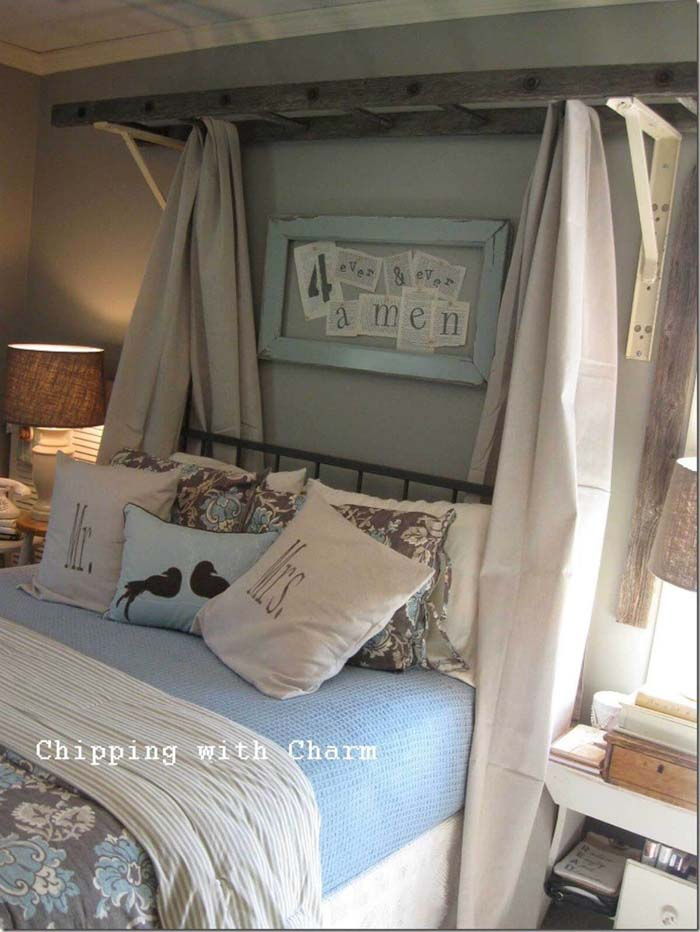 The Most Unexpected Canopy Bed Idea #diy #ladder #repurpose #decorhomeideas
