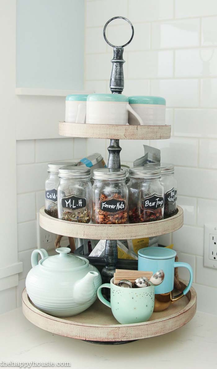 Three Tiered Lazy Susan for Tea and Snacks #kitchen #countertop #organization #decorhomeideas