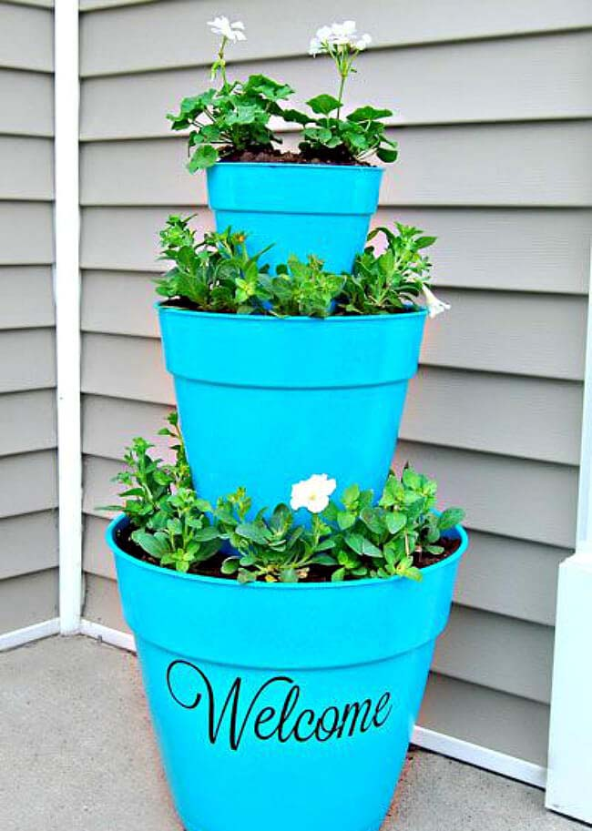 Tiered Front Door Flower Pot Welcome Decoration #flowerpot #frontdoor #frontporch #decorhomeideas