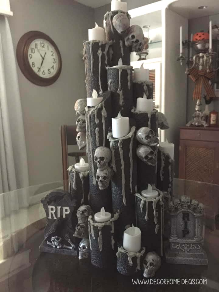Tombstone Halloween Decor With Pool Noodles