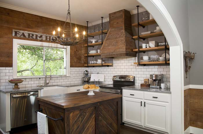 Tuscan and Modern Blended Kitchen Cabinets #farmhouse #kitchen #cabinet #decorhomeideas