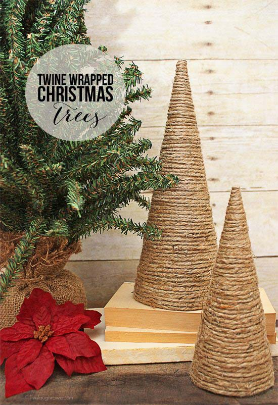 Twine Wrapped Christmas Trees #Christmas #tree #crafts #decorhomeideas