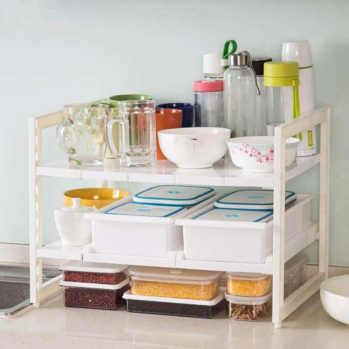Two-Tiered Storage Rack with Removable Shelves #smallkitchen #storage #organization #decorhomeideas