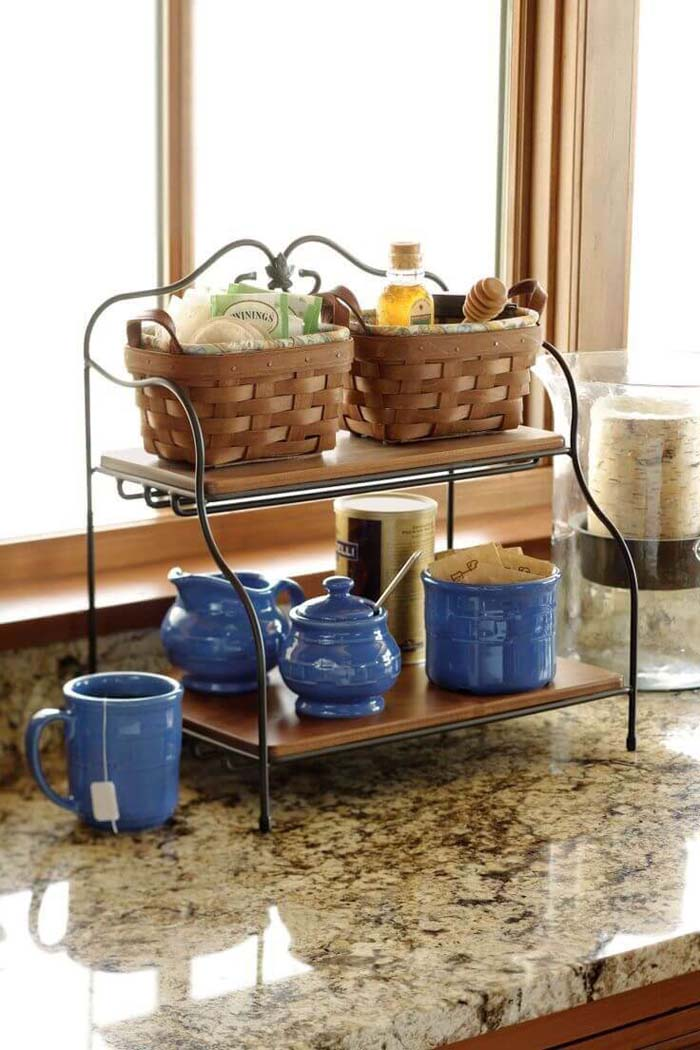 Two Tiered Wood and Wire Shelf #kitchen #countertop #organization #decorhomeideas