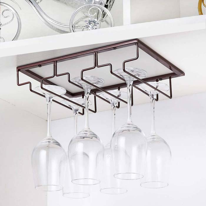 Under the Cabinet Wine Glass Storage #smallkitchen #storage #organization #decorhomeideas