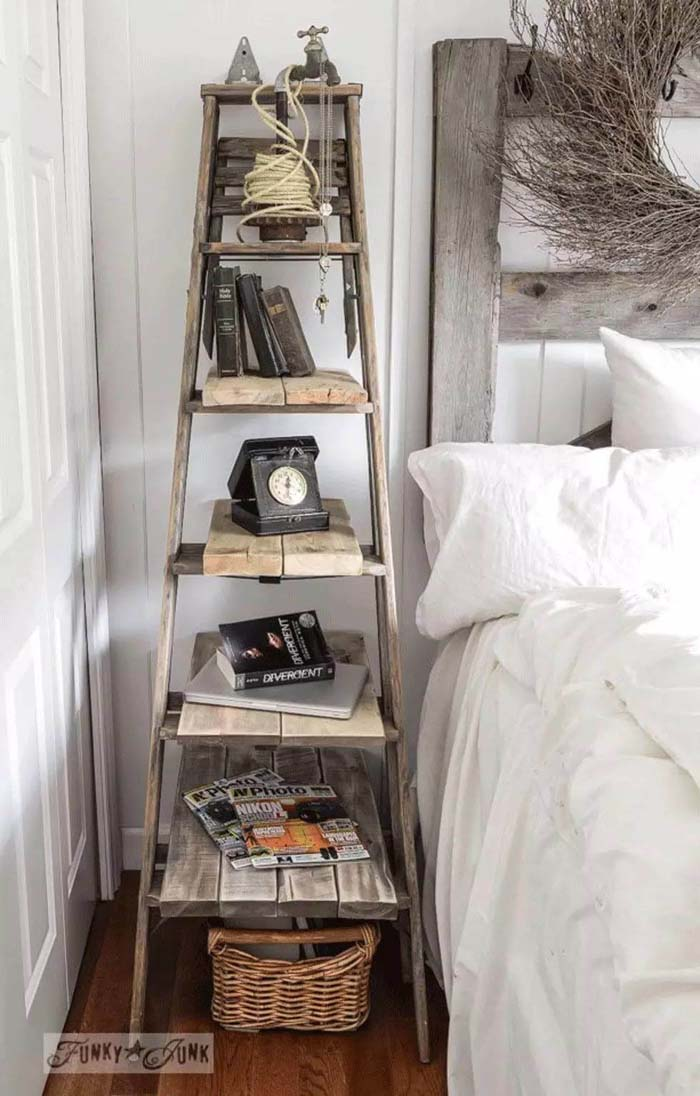 Upcycled Orchard Ladder Turned Nightstand #bedroom #vintage #decor #decorhomeideas
