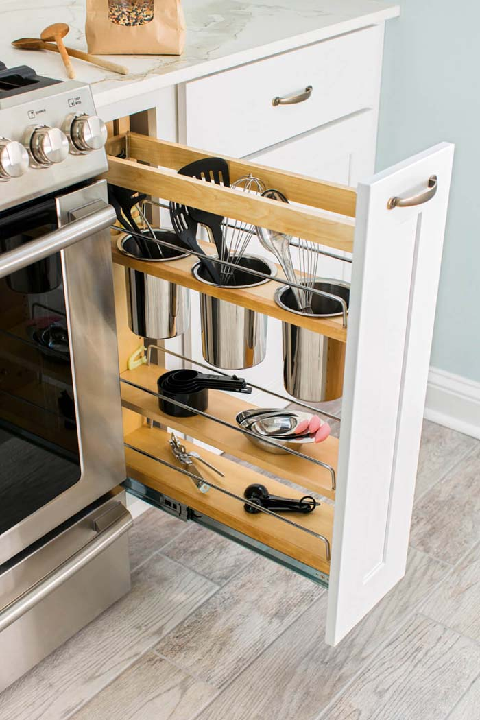Utensil Drawers in Unused Cabinet Space #smallkitchen #storage #organization #decorhomeideas