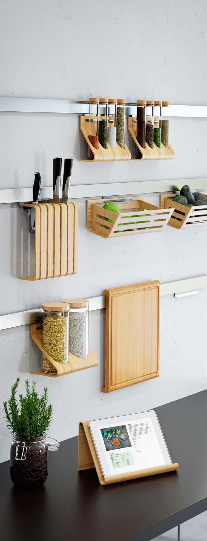 Wall Ledges for Wooden Kitchen Accessories #smallkitchen #storage #organization #decorhomeideas