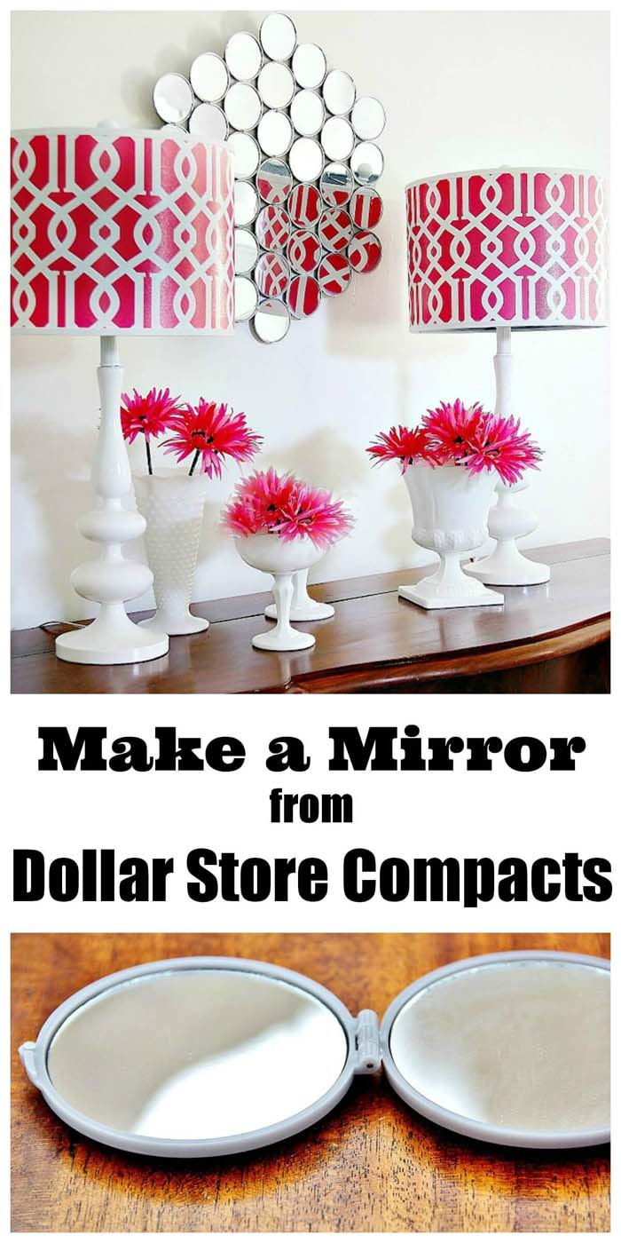 Wall Mirror From Dollar Store Compacts #dollarstore #diy #homedecor #decorhomeideas