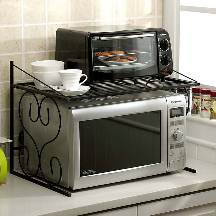 Wire Rack to Stack Your Toaster Oven #kitchen #countertop #organization #decorhomeideas