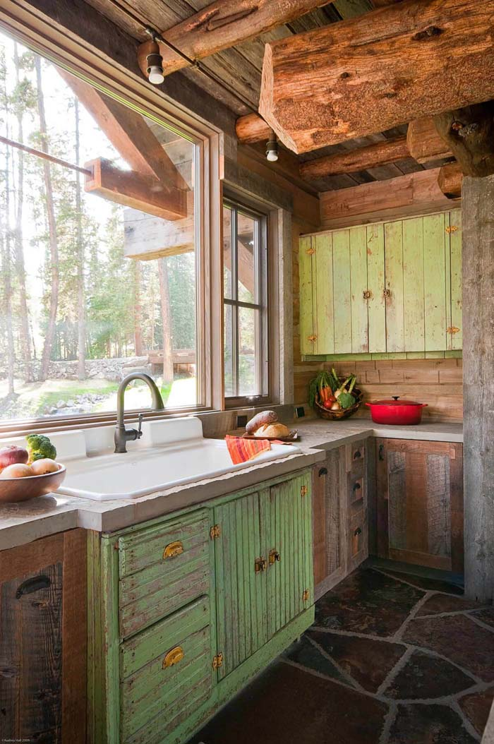 Woodland Distressed Green and Raw Wood Cabinets #farmhouse #kitchen #cabinet #decorhomeideas