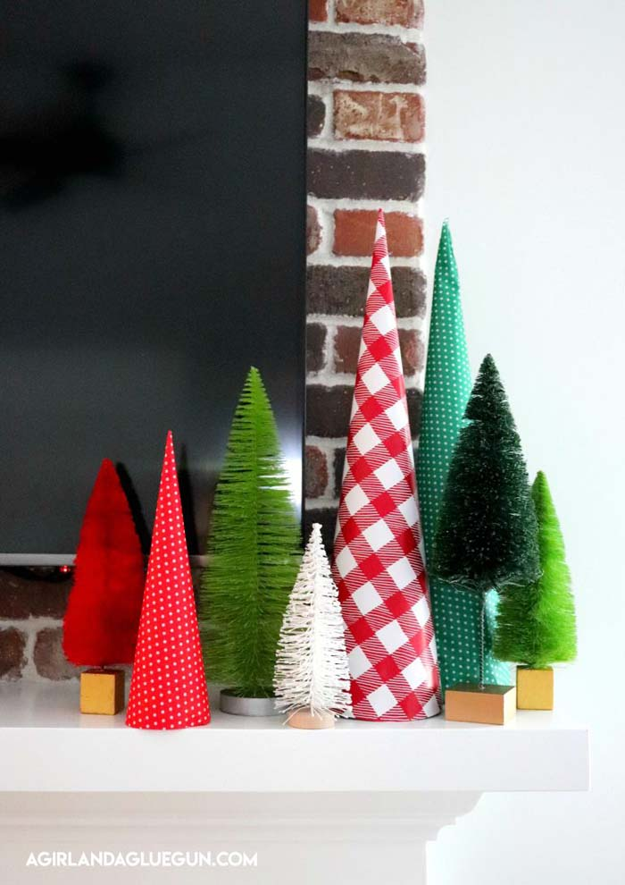 Wrapping Paper Christmas Trees #Christmas #tree #crafts #decorhomeideas