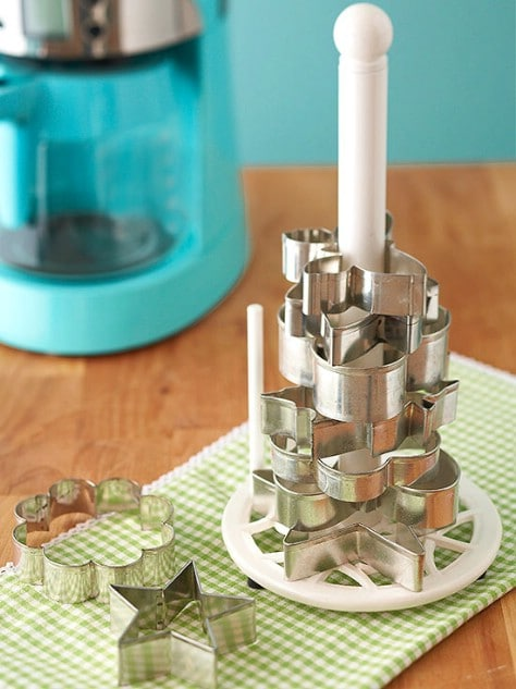 Organize Cookie Cutters With A Paper Towel Rack #organization #storage #home #decorhomeideas