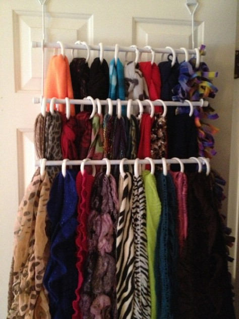 Organize Your Scarves With Shower Curtain Rings #organization #storage #home #decorhomeideas