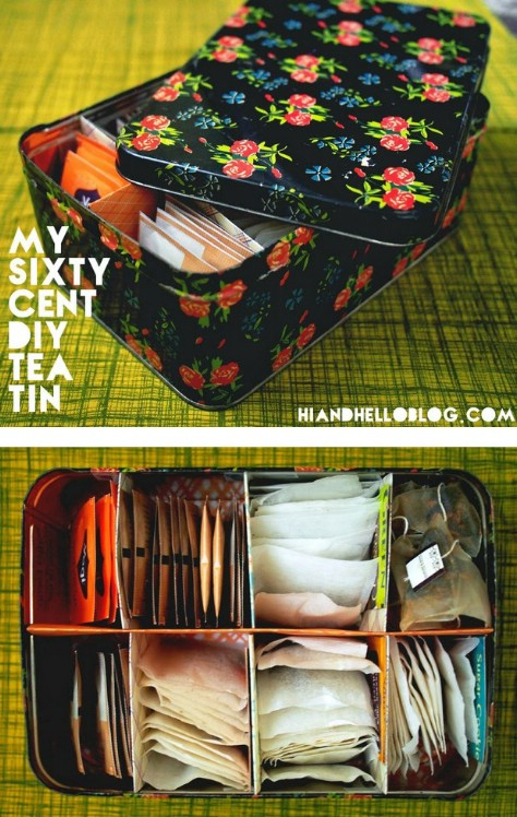 Make A Tea Tin With Dividers #organization #storage #home #decorhomeideas