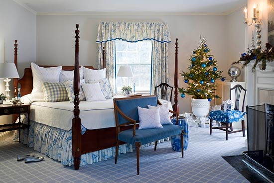 3. Blue And White Christmas Bedroom