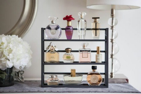 Use A Spice Rack To Display Your Perfume Bottles #organization #storage #home #decorhomeideas