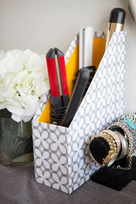 Use A Magazine Holder In An Unconventional Way #organization #storage #home #decorhomeideas