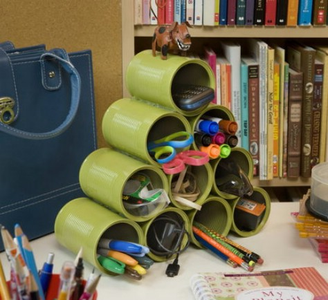 Make An Empty Tin Can Organizer #organization #storage #home #decorhomeideas