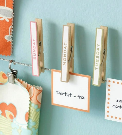 Organize Your Schedule On A Clothesline #organization #storage #home #decorhomeideas
