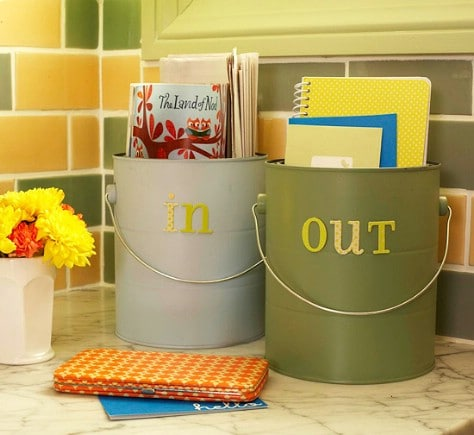 Use Pails For Incoming And Outgoing Mail Tasks #organization #storage #home #decorhomeideas