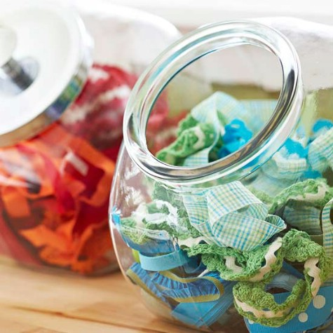 Store Craft Supplies In Vintage Candy Jars #organization #storage #home #decorhomeideas