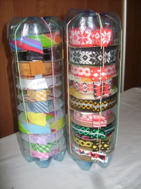 Use Old Plastic Bottles To Store Ribbon And Twine #organization #storage #home #decorhomeideas