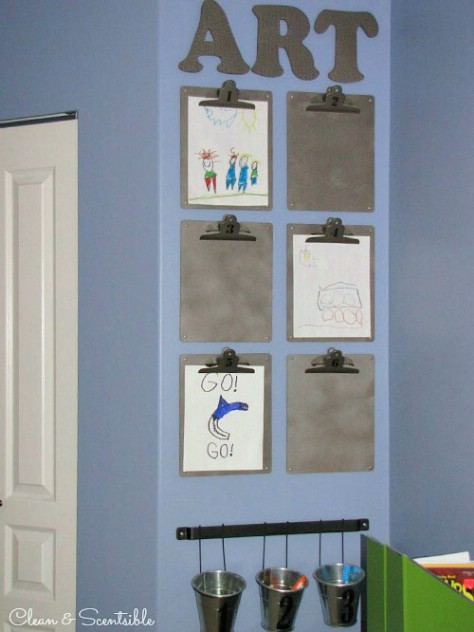 Display Your Kids Artwork On Clipboards #organization #storage #home #decorhomeideas