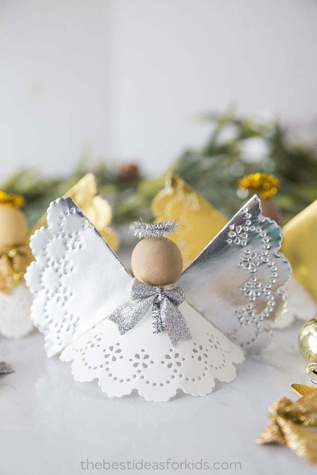 Angel Doily Craft #Christmas #ornaments #kids #diy #decorhomeideas