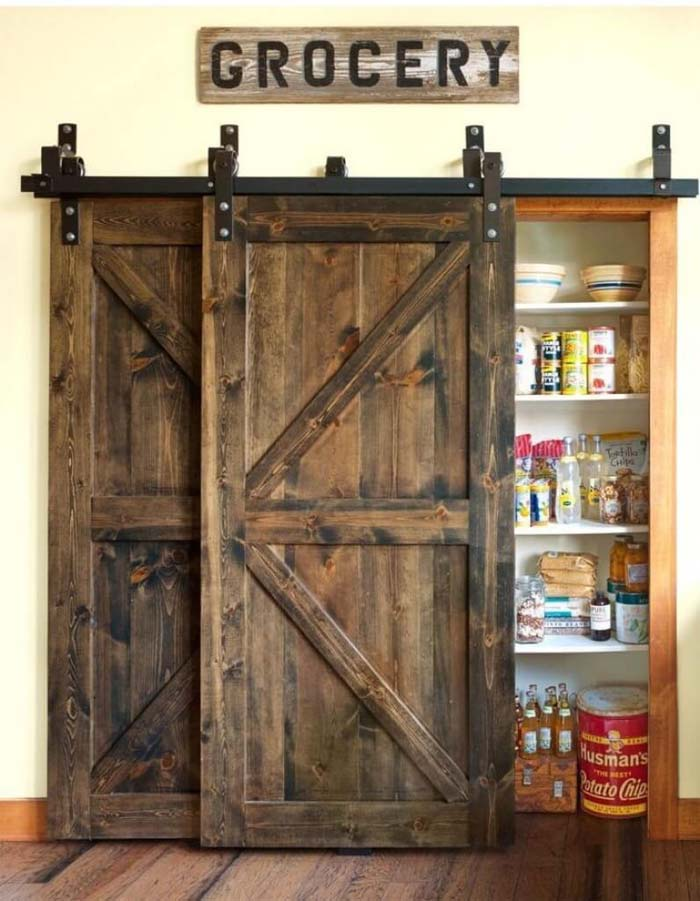 Barn Door Pantry with Vintage Accessories #farmhouse #furniture #decorhomeideas