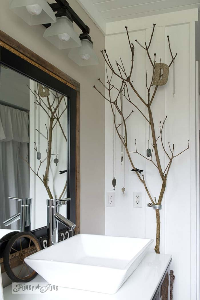 Bathroom-Beautiful Ways To Decorate With Branches #branches #homedecor #decorhomeideas