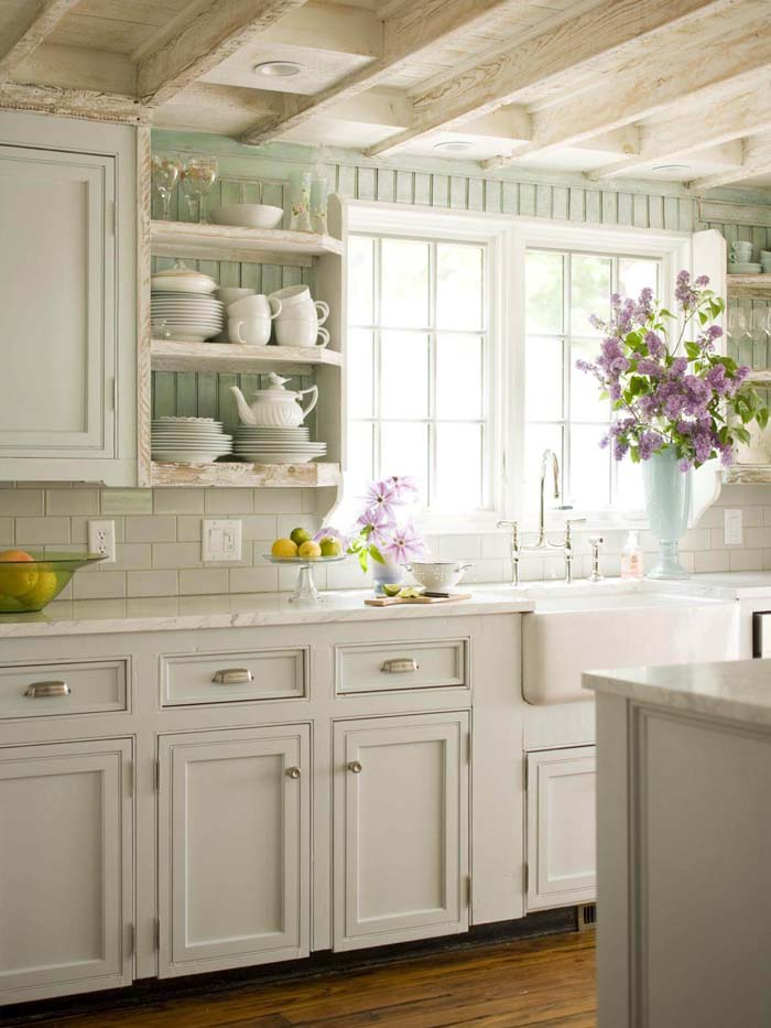 Beautiful Mint and White French Kitchen #frenchcountry #decor #decorhomeideas