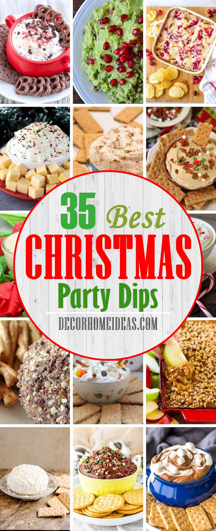 Best Christmas Party Dips. Don't forget to make dips for your Christmas party guests. From Peppermint fluff dip to Cinnamon Roll Cheesecake, here are the best dips to make this holiday season. #decorhomeideas