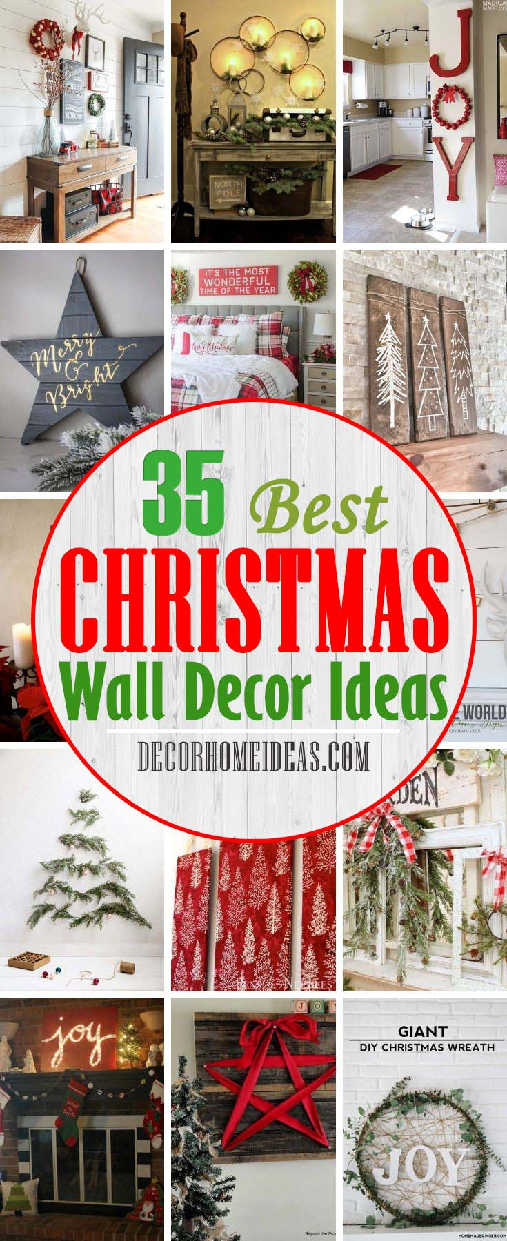 Best DIY Christmas Wall Decor Ideas. Dressing up your walls is the last thing that comes to mind with holiday decorations, but these festive Christmas wall decor ideas will convince you otherwise. #decorhomeideas