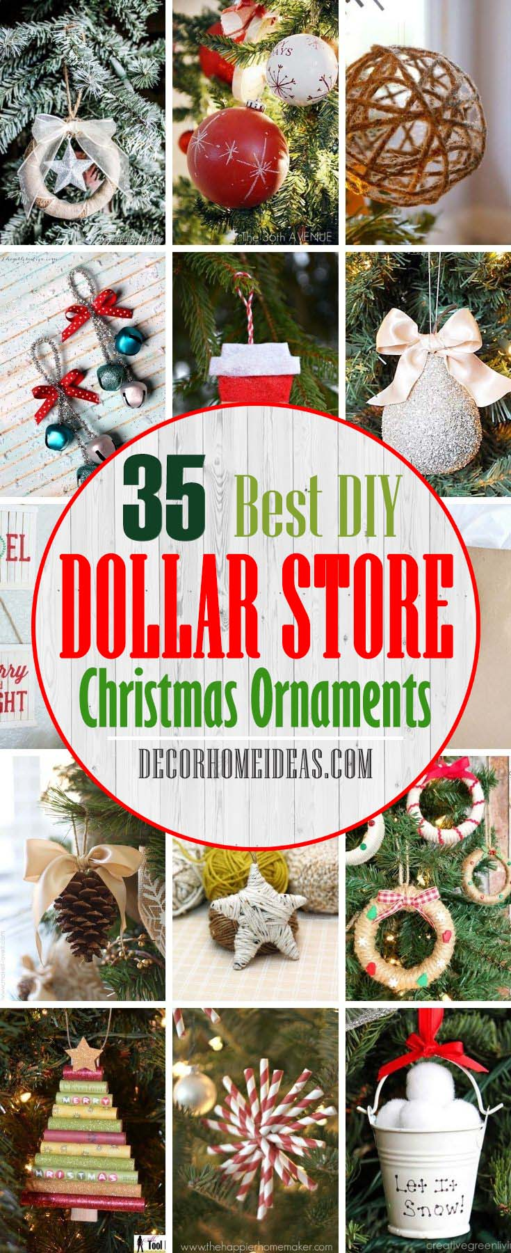 Best Dollar Store DIY Christmas Ornaments. Discover the Best Dollar Tree DIY. Discover the Best Dollar Tree DIY Christmas Ornaments that you could do to make your Christmas tree even more dazzling! These festive craft ideas and DIY ornaments for Christmas are from the Dollar Store or Dollar Tree. #decorhomeideas