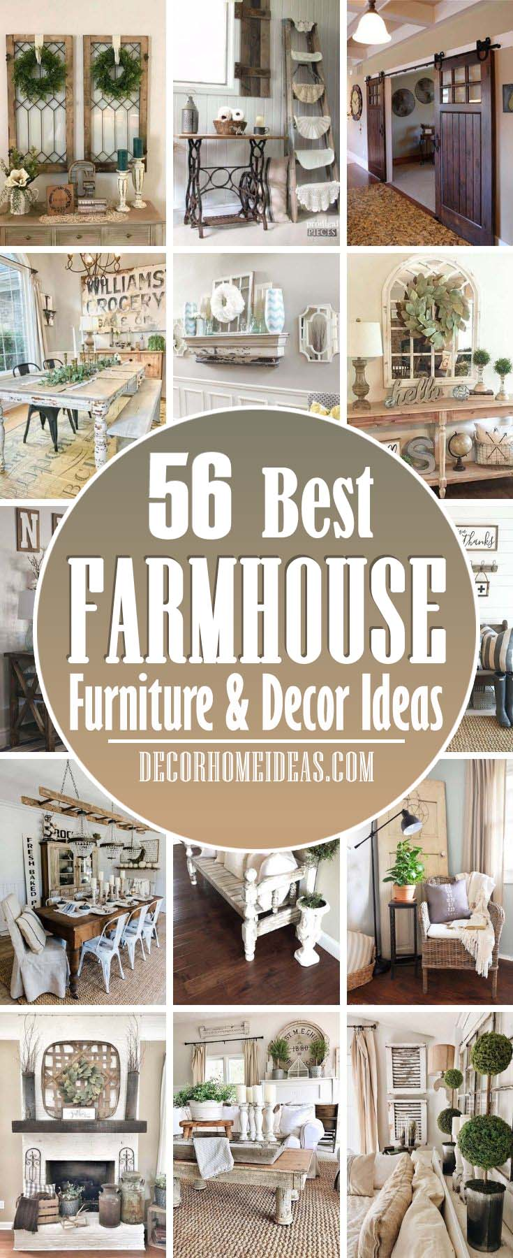 Best Farmhouse Furniture And Decor Ideas. Take your love of farmhouse style to the next level with decorating ideas for every room in your house. From farmhouse kitchens to bedroom decorating ideas and even rustic bathrooms. #decorhomeideas