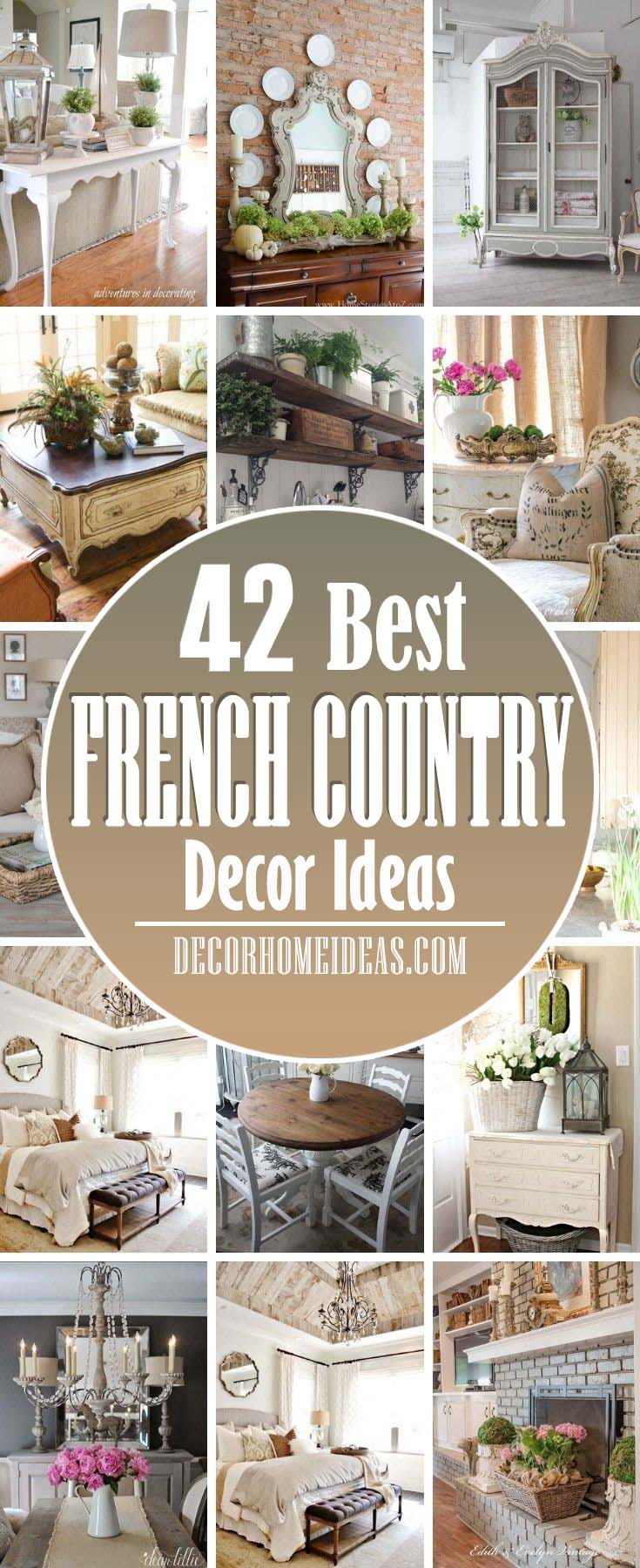 Best French Country Decor Ideas. Get inspired by these 40+ examples of French country décor and fill your rooms with muted colors, toile fabrics, tapestries, and more—all with a rustic touch.  #decorhomeideas